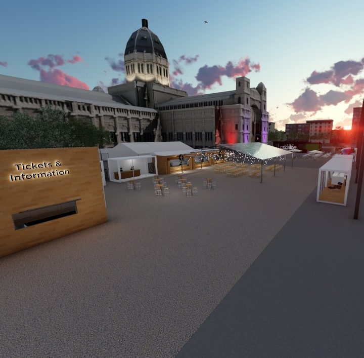 A render of the arrivals plaza for Melbourne Fashion Festival