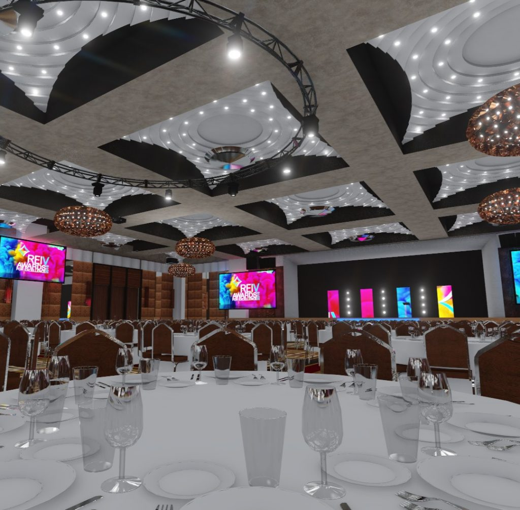 A render showing a gala dinner design